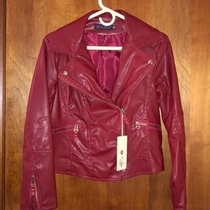Red Pleather Motorcycle Jacket